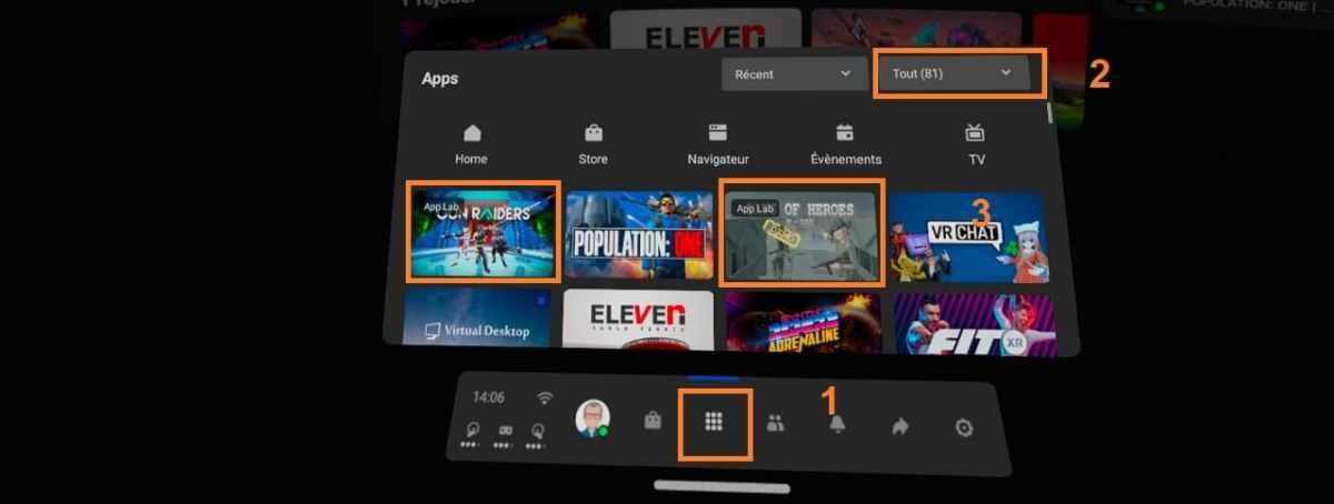Lancer jeu App Lab SideQuest dans Quest