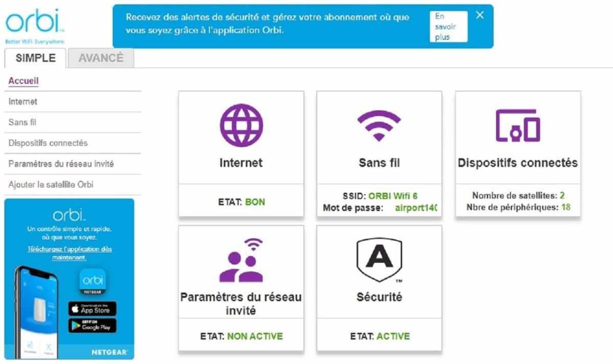 Orbi interface Web comment se connecter