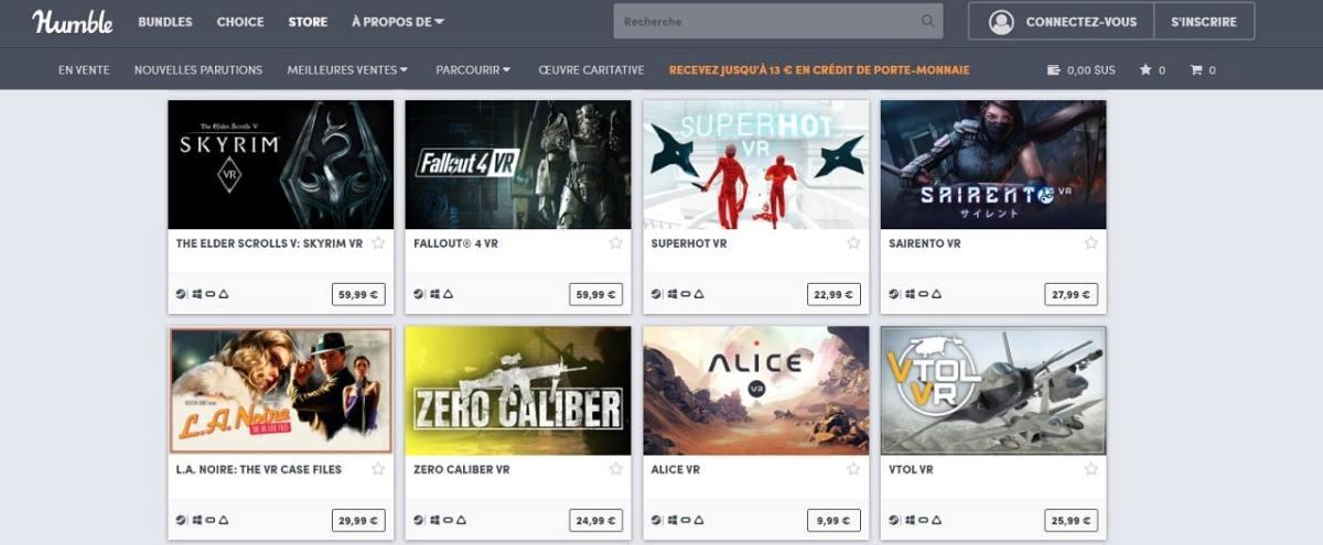 Réduction jeux Steam VR Humble