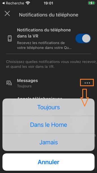 choix notification Quest