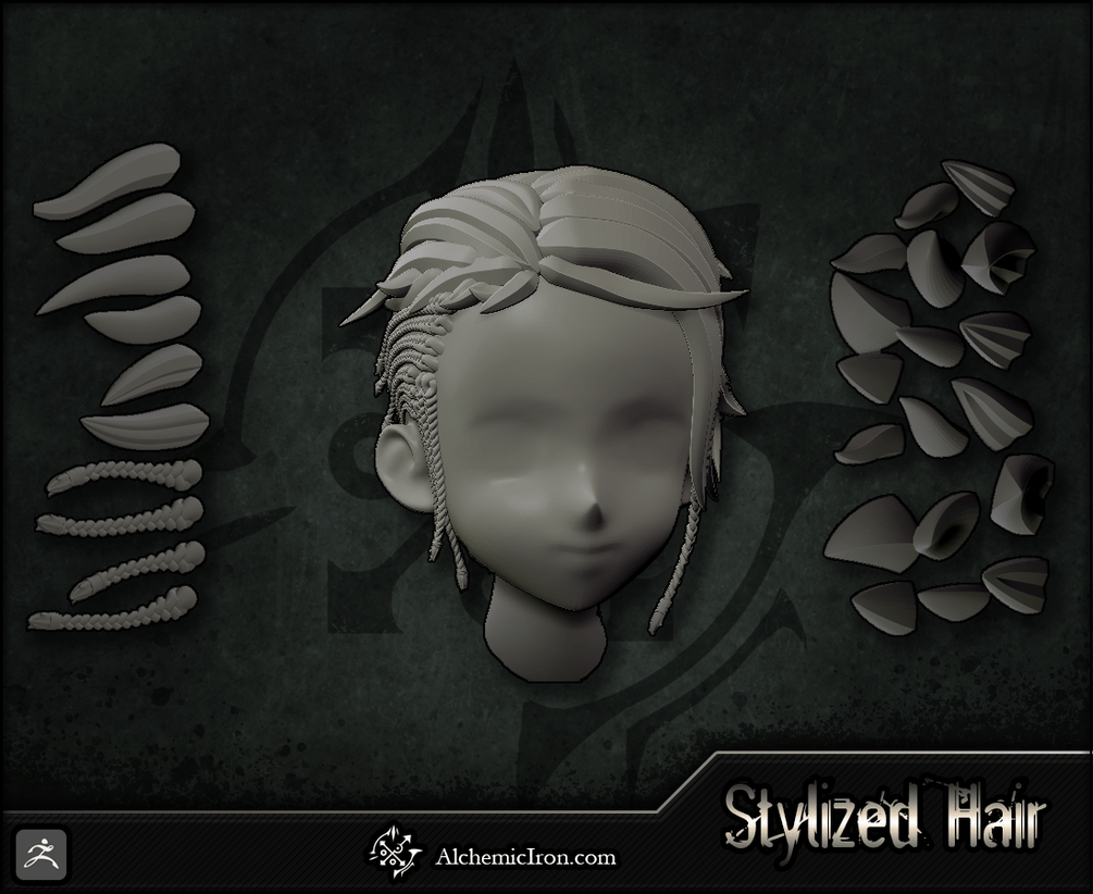 Stylized Hair - ZBrush Curves and IMM Brushes By Alchemic Iron Games