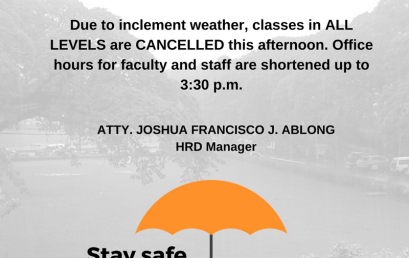 Advisory on Inclement Weather