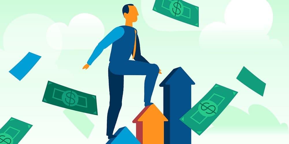 Homem subindo uma escada rodeado por dinheiro, mostrando como ficar rico sendo pobre.