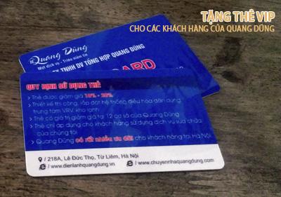 Tặng thẻ VIP cho các khách hàng đã từng sử dụng dịch vụ của Quang Dũng
