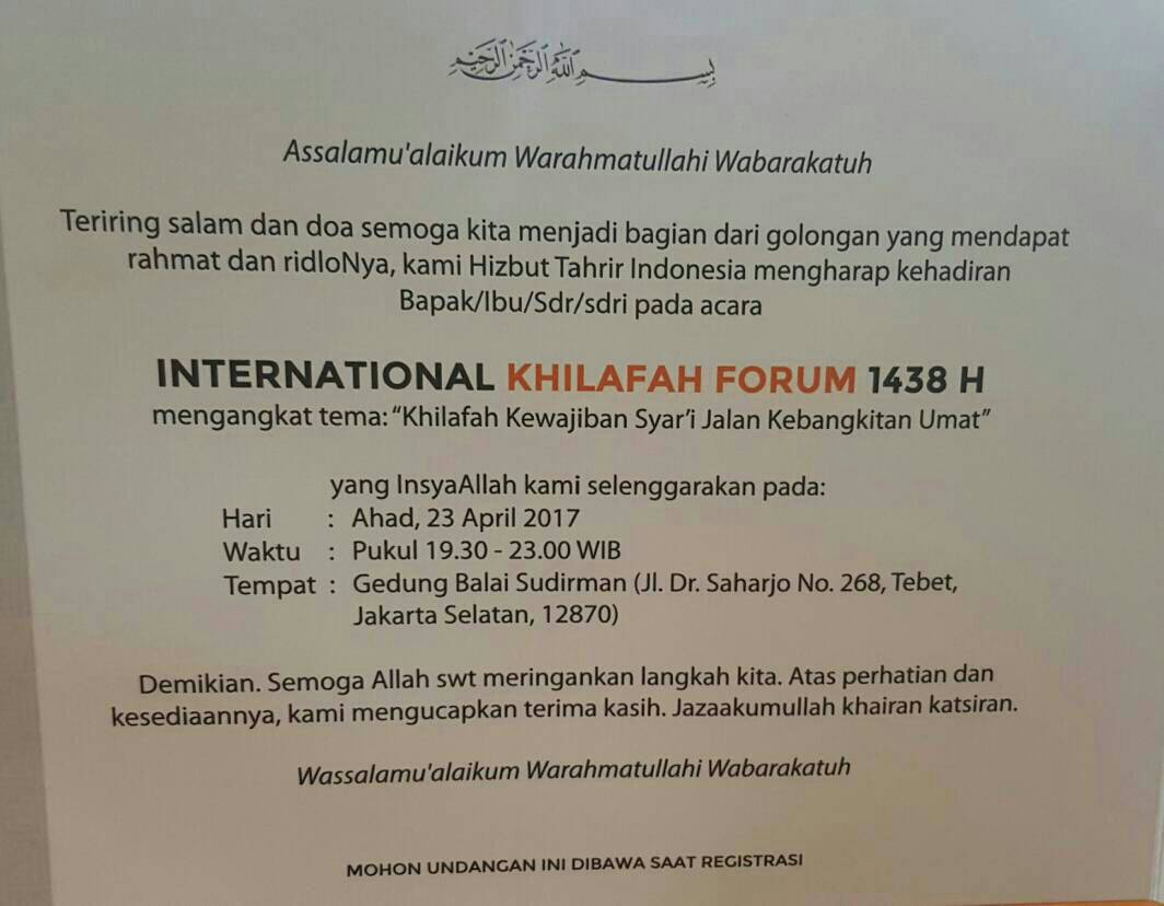HTI Akan Gelar Forum Khilafah Internasional?