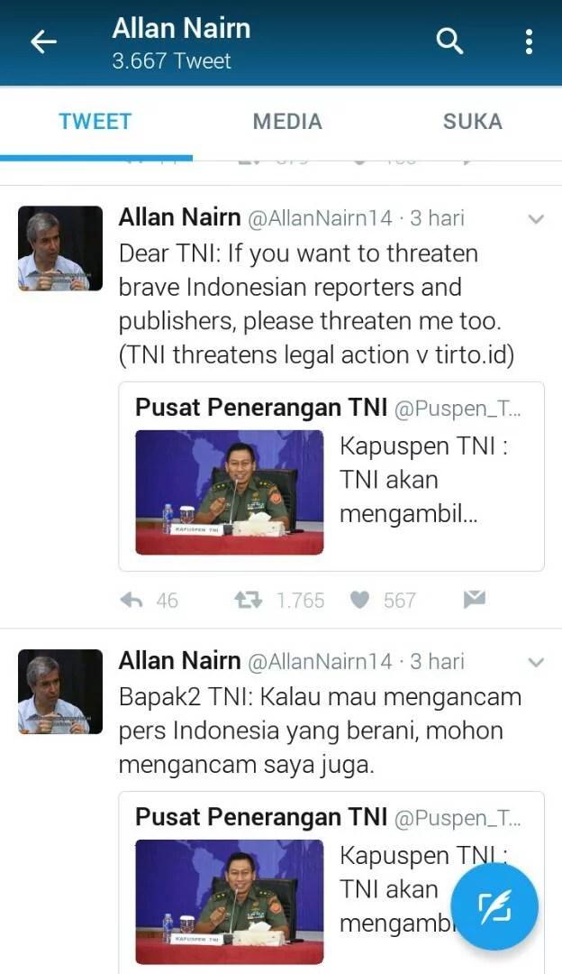 Allan Nairn: Kalau TNI Ancam Pers Indonesia, TNI Harus Ancam Saya Juga