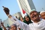 Unjuk rasa menolak pagelaran Miss World 2013 di Bundaran Hotel Indonesia, Jakarta. (Foto: Fajrul Islam/SJ)