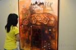 """Lukisan berjudul """"Qun Fa Yaqun, Tsunami 2004"""" karya A.D. Pirous di gelaran Pasar Seni Jakarta 2013. (Foto: Fajrul Islam)"""