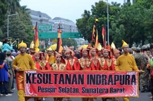 Rombongan Kesultanan Indrapura, Pesisir Selatan, Sumatera Barat. (Foto: Fajrul Islam/SJ)
