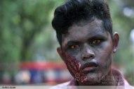 Karakter zombie menyeramkan di Festival Halloween Jakarta. (Foto: Fajrul Islam/SuaraJakarta)