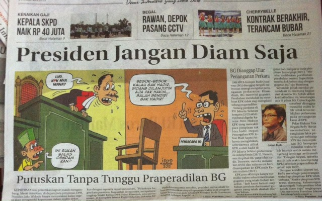 Headline Harian Nasional 3 Februari 2015, Presiden Jangan Diam Saja