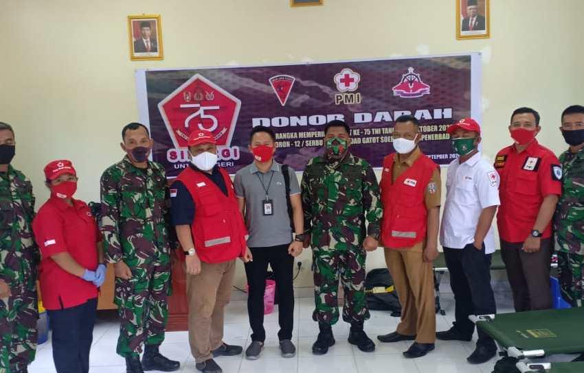 Rayakan HUT TNI Ke 75 , Skadron 12 Serbu dan Lanudad Gatot Subroto Way Tuba adakan Bhakti Sosial Donor Darah