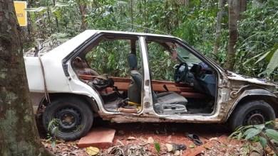 Photo of Curi kayu balak dengan kereta yang hampir tinggal rangka