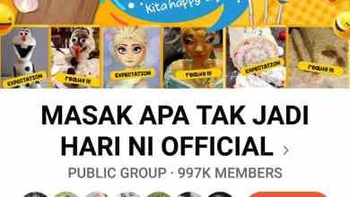 Photo of FB MASAK APA TAK JADI HARI INI OFFICIAL- 1 juta ahli dalam tempoh 6 hari