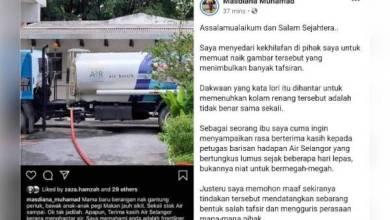 Photo of Lori air bukan untuk isi kolam renang – Isteri MB Selangor