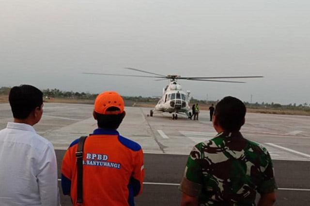 Helikopter Water Bombing Siap Padamkan Api di KWA Kawah Ijen
