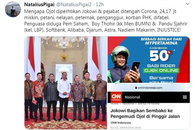 Pigai Sebut Jokowi dan Pejabatnya Peduli Ojol Karena Alasan Bisnis