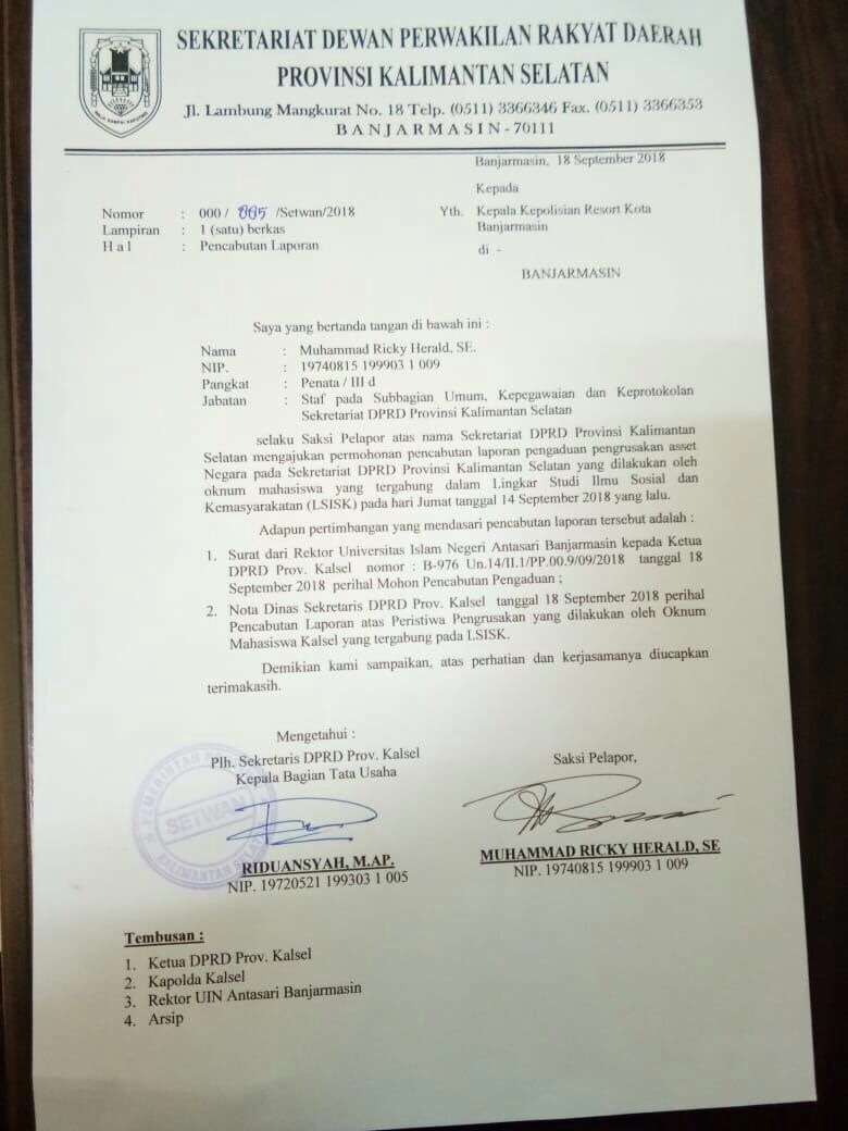 Setwan DPRD Kalsel Cabut Pengaduan terhadap Mahasiswa