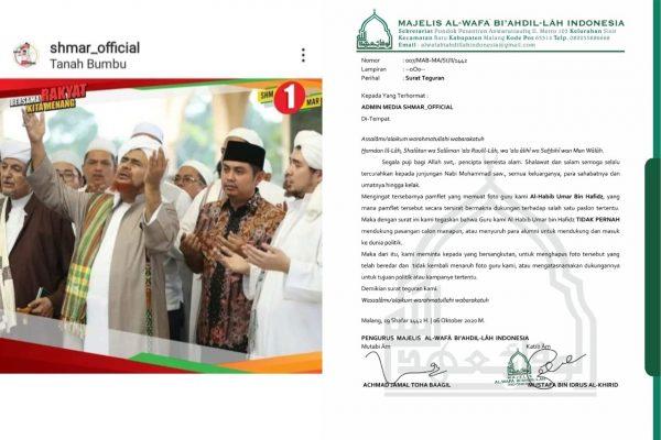 VIRAL DI MEDSOS Kampanye Pakai Foto Habib Umar, Admin SHMMAR_OFFICIAL Ditegur