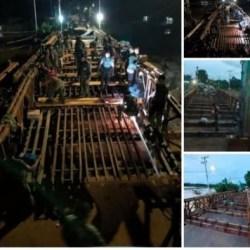 KODAM VI / MULAWARMAN Kerahkan Prajurit Perbaiki Jembatan Putus, Target Hari Ini Rampung