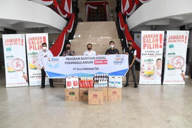 Pemerintah Kota Banjarmasin menerima bantuan dari PT KINO dalam bentuk hand sanitizer, hand wash, dan juga produk produk minuman peningkat imun
