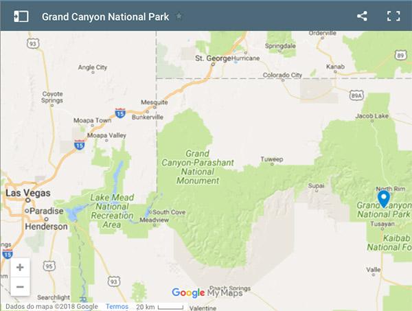 Mapa do Grand Canyon mostrando a distância para Las Vegas