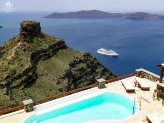 Vista da Piscina Hotel Tholos em Santorini
