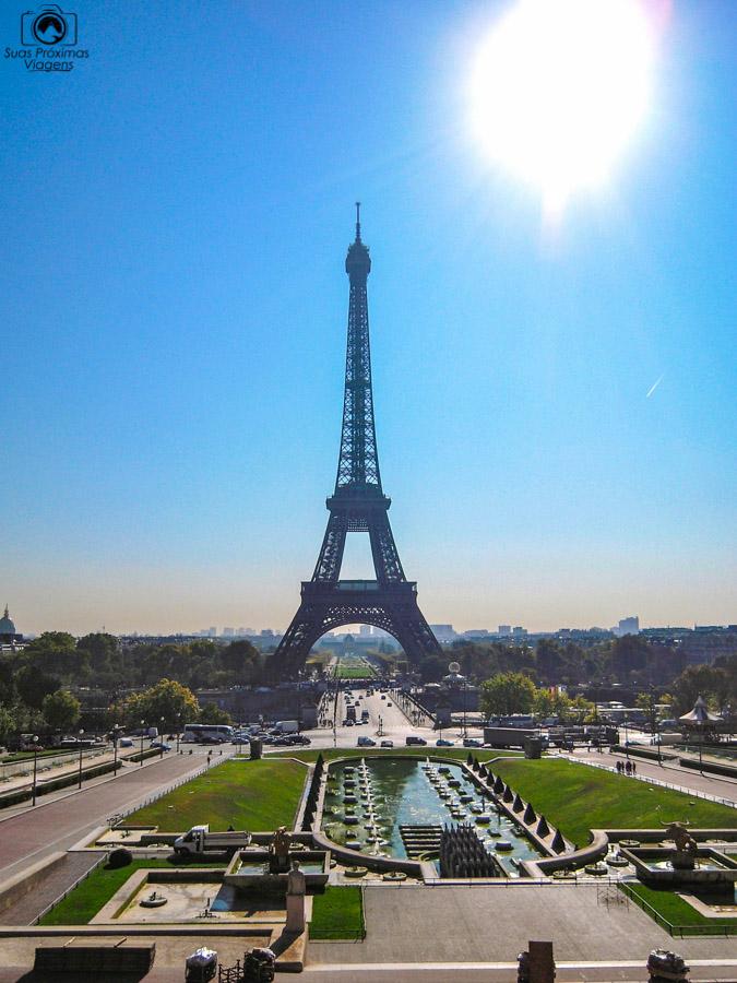 A Torre vista desde o Trocadéro em Pontos Turísticos de Paris