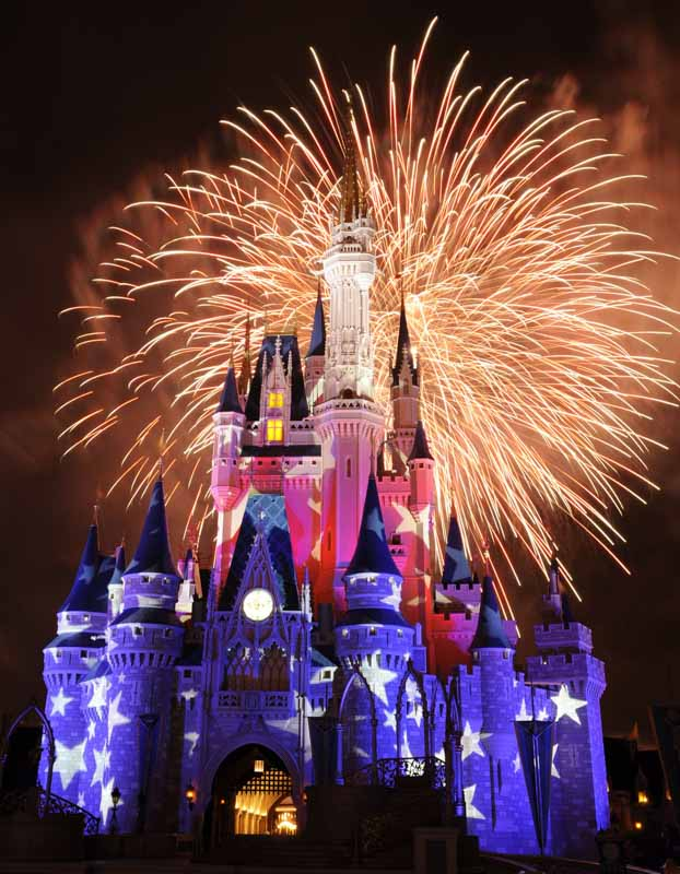 Tradicional Queima de Fogos atrás do Castello da Cinderella nos parques da Disney