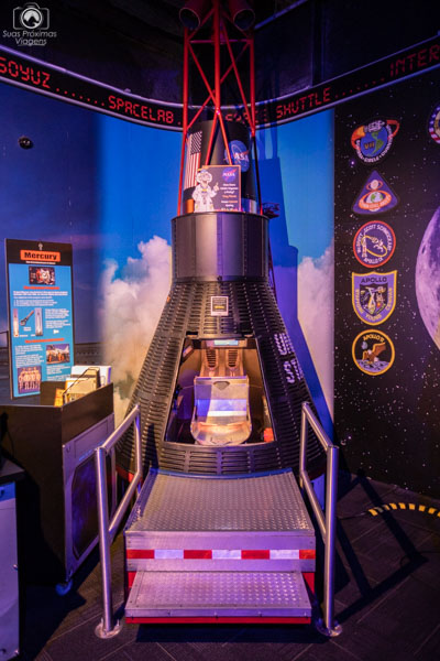 Réplica da Cápsula Projeto Mercury no Wonderworks