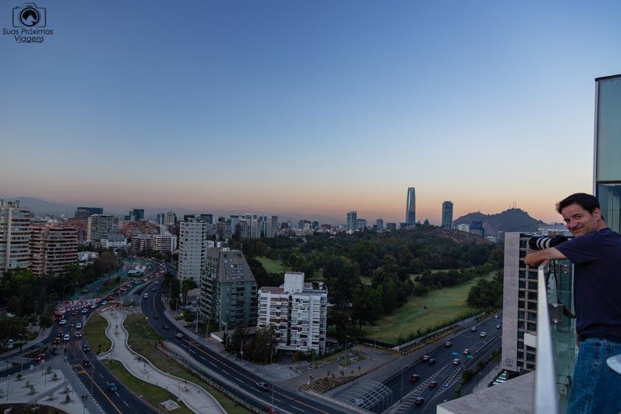 Imagem da vista do campo de golf desde o hotel Cumbres Vitacura em Santiago