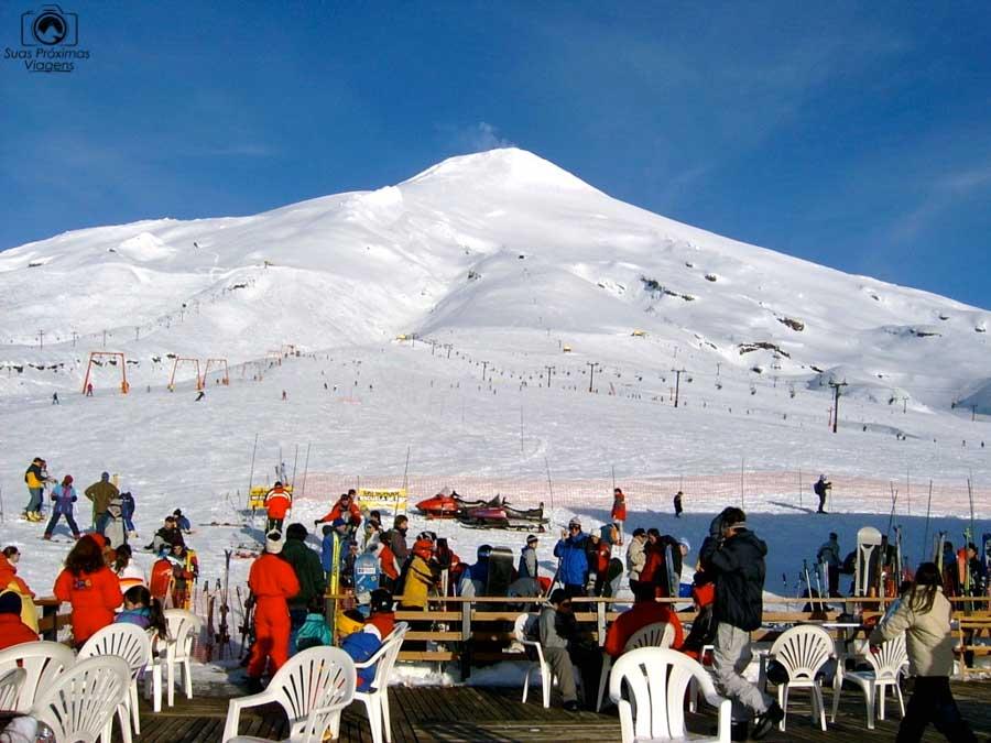 Imagem do vulcão Villarica em Pucon no Inverno