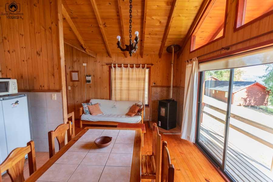 Imagem da sala da cabana do Mirador Los Volcanes