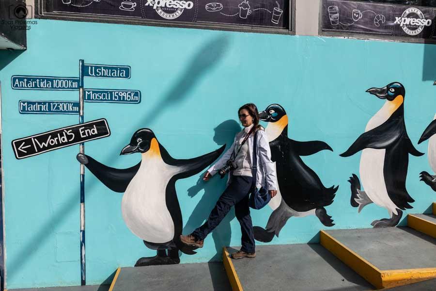 imagem da tradicional foto dos pinguins em o que fazer em Ushuaia
