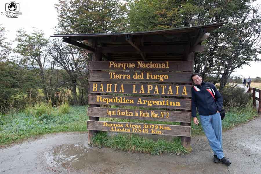 imagem da placa do parque nacional terra del fuego