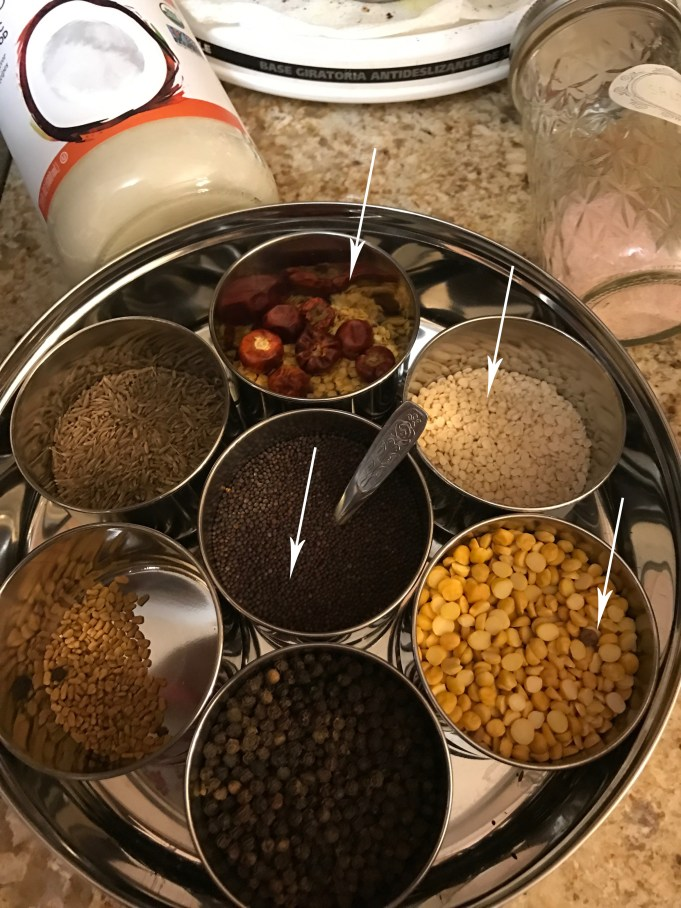 Get Mustard, Dried chili, Urad Daal, Channa Daal