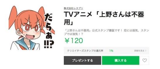 【上野さんは不器用】LINEスタンプが新登場!スタンプでは積極的にアピール!?