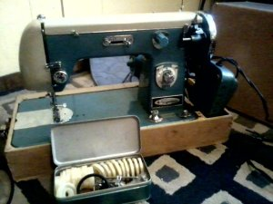 Sewing Machines- Blue Vintage Montgomery Ward Signature.
