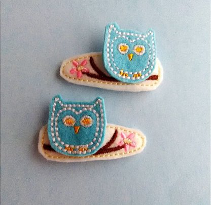 Owl Hair Clip Barrettes in Light Blue and White