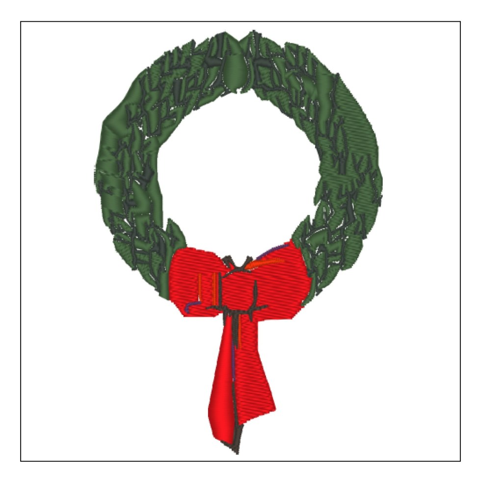 Christmas Wreath with Red Bow Embroidery File
