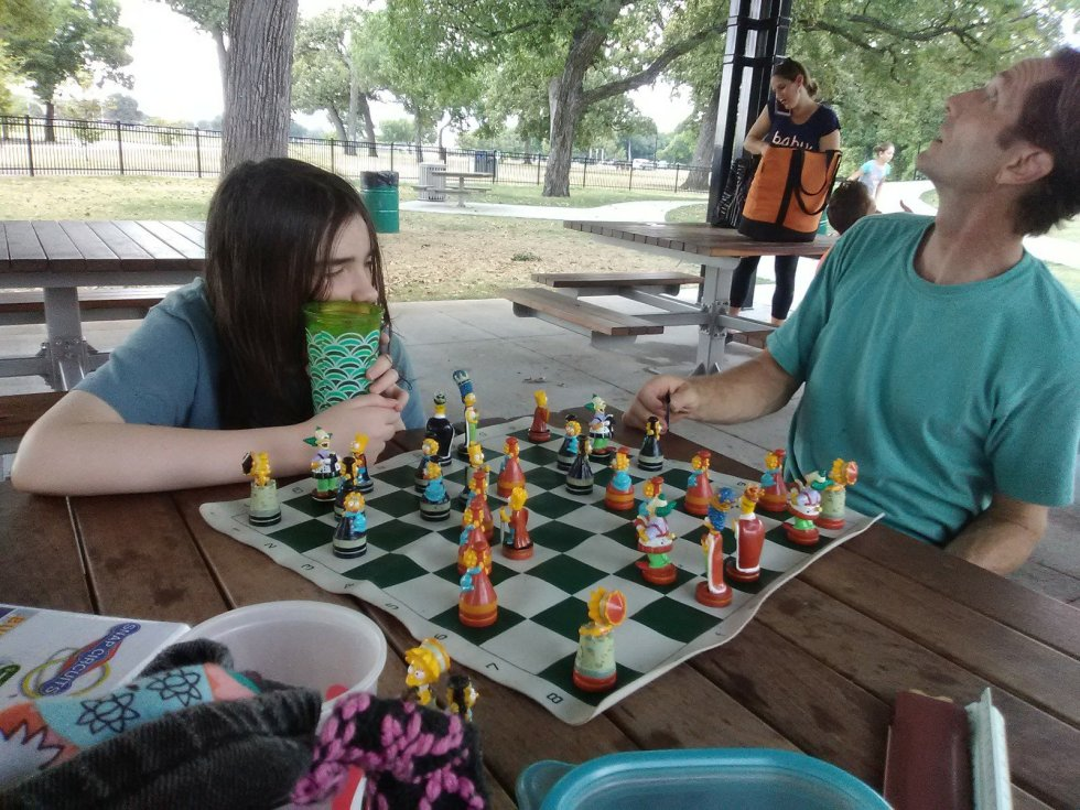 healthy snacks and chess at the park