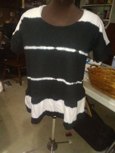 Knit tube dress to T Shirt Refashion T shirt Finished Product.
