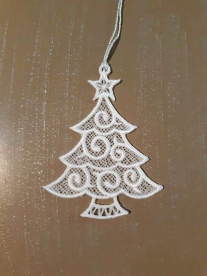 White Christmas Tree Lace Ornament