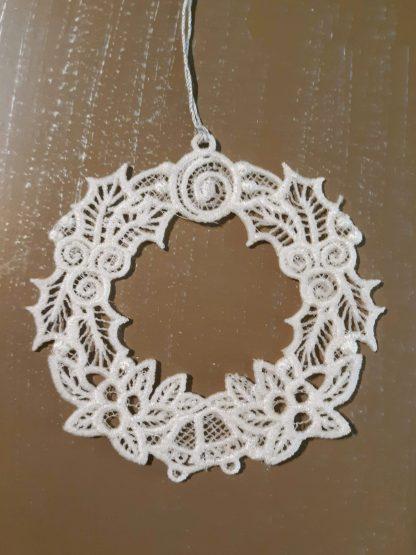 White Christmas Wreath Lace Ornament