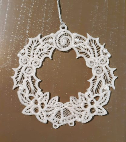 White Christmas Wreath Lace Ornament 2