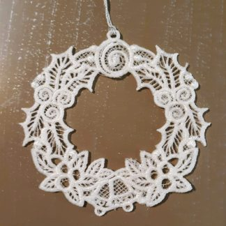 White Christmas Wreath Lace Ornament 2