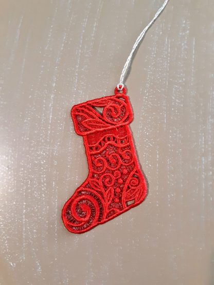 Red Christmas Stocking Lace Ornament 2