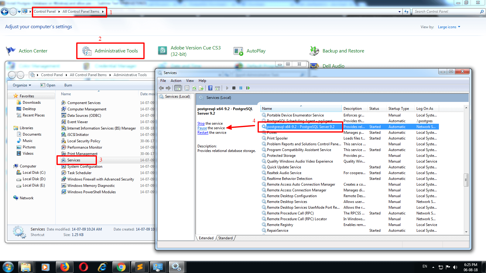 Install Postgres database on Windows and allow password less access
