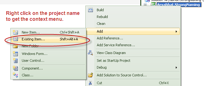 How to add .snk file to Project from Common folder (1/3)