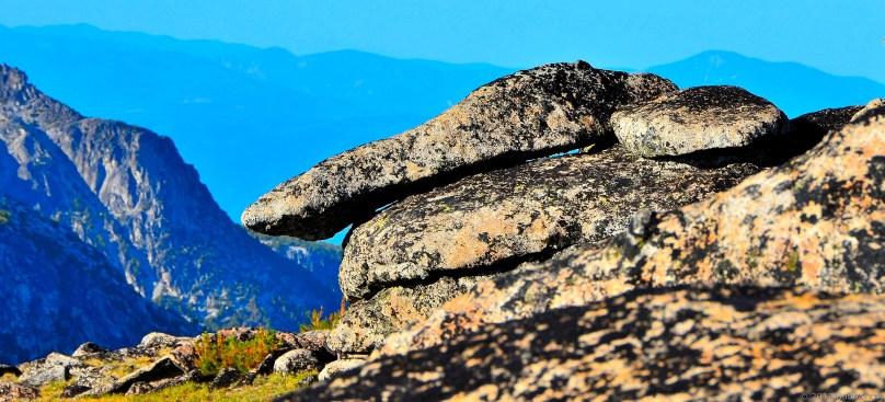 Stack of granite slabs